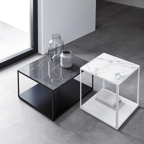 contemporary side table / metal / ceramic / rectangular