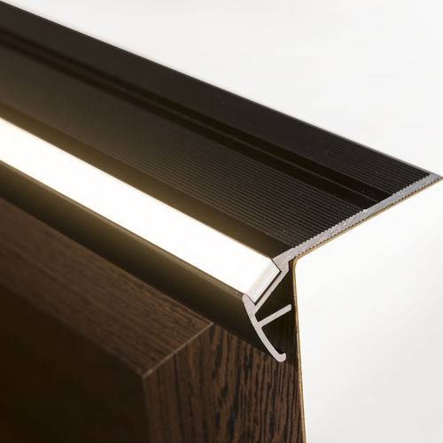 anodized aluminum stair nose / with LED profile