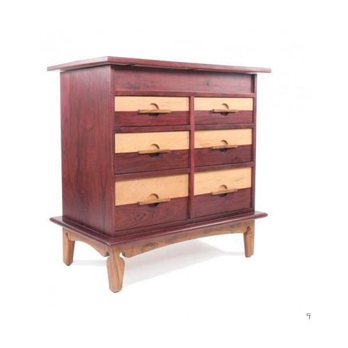contemporary chest of drawers / solid wood / white / brown