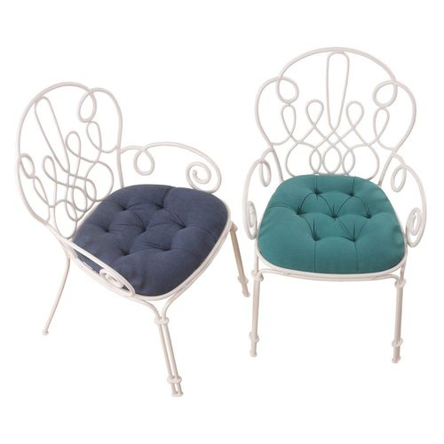 traditional garden chair / with armrests / upholstered / metal