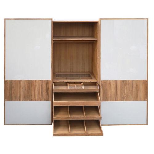 contemporary wardrobe / solid wood / teak / sliding door