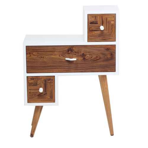 traditional bedside table / solid wood / teak / rectangular