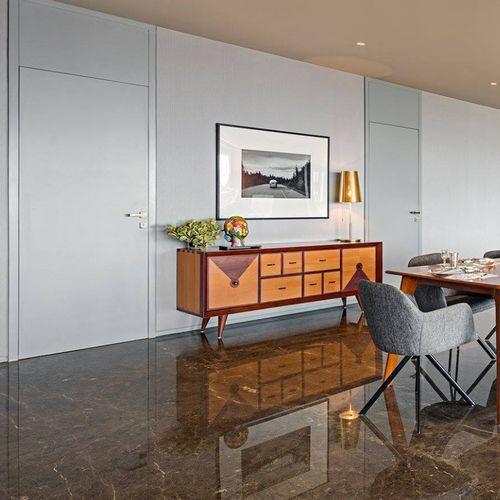 contemporary sideboard / solid wood / teak