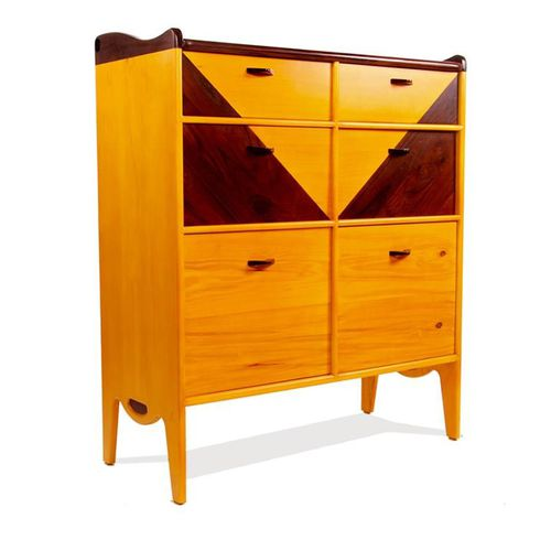 contemporary chest of drawers / solid wood / yellow