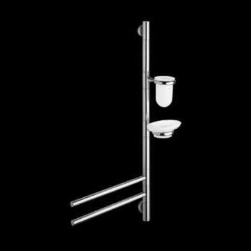 2-bar towel rack / floor-standing / chromed metal / with soap dish