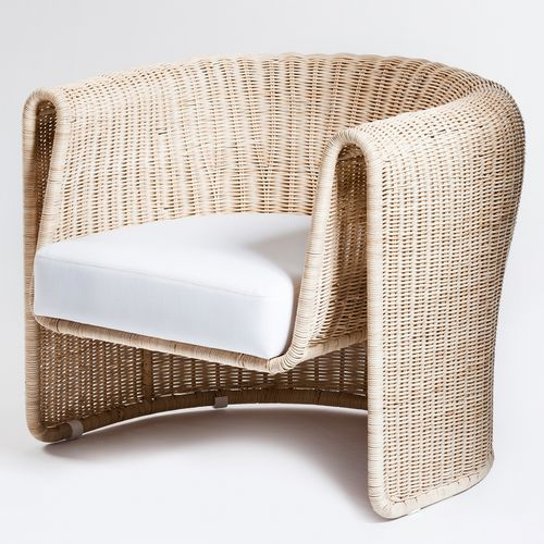 contemporary armchair / linen / wicker / with removable cushion