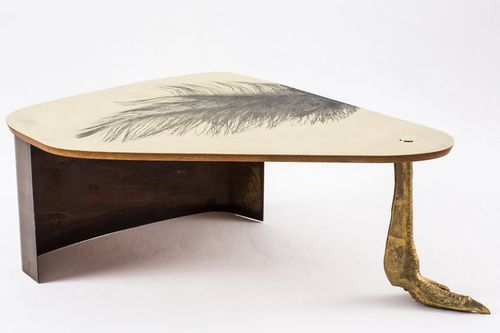 original design coffee table / wooden / brass / contract