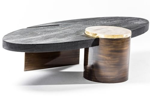 contemporary coffee table / wooden / brass / steel