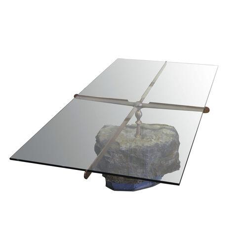 original design coffee table / glass / stone / steel