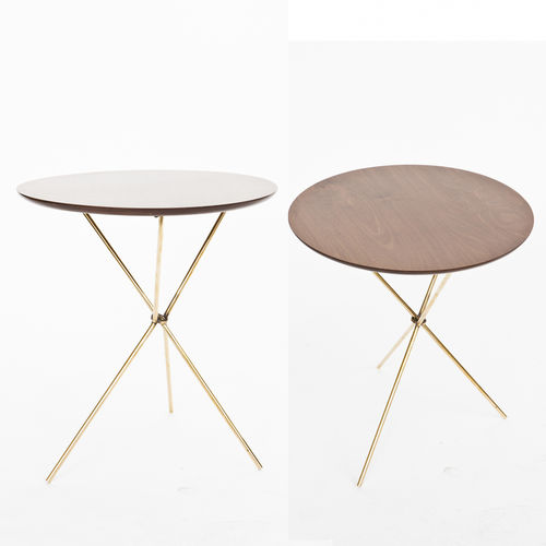 contemporary side table / wood veneer / brass / round