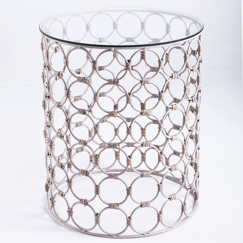 contemporary side table / glass / rattan / steel