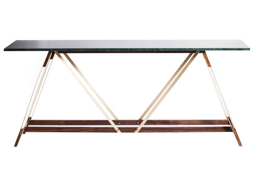 contemporary sideboard table / marble / brass / rectangular