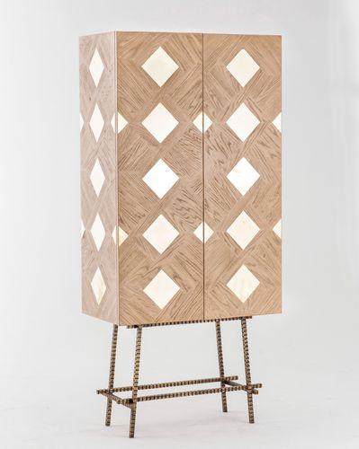 high sideboard / contemporary / oak / brass