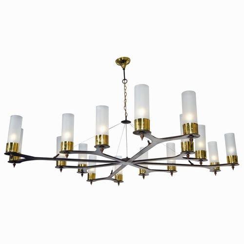 contemporary chandelier / glass / brass / steel