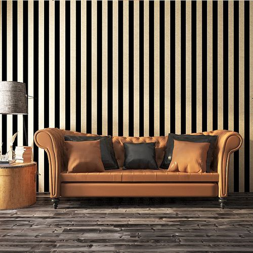 modern wallpaper / nonwoven fabric / striped / black