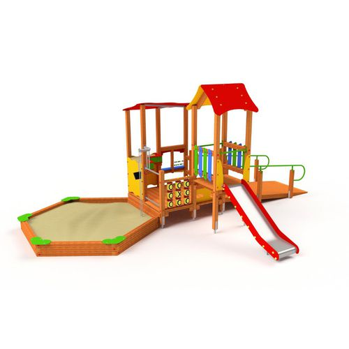 playground play structure / HDPE / wooden / metal