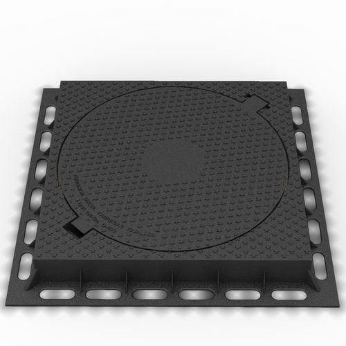 cast iron manhole cover / square / with built-in lid