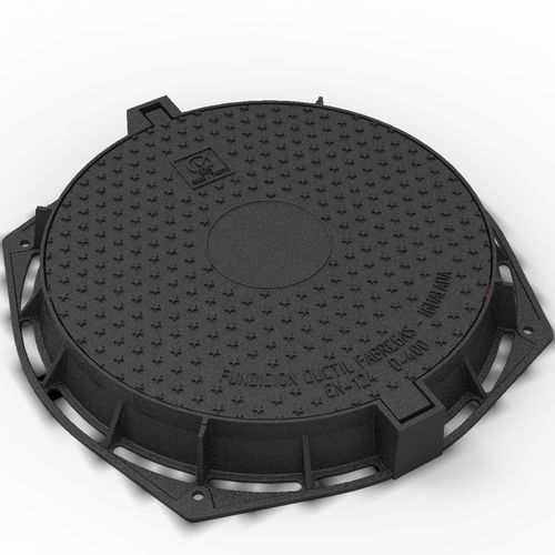 cast iron manhole cover / round / with built-in lid
