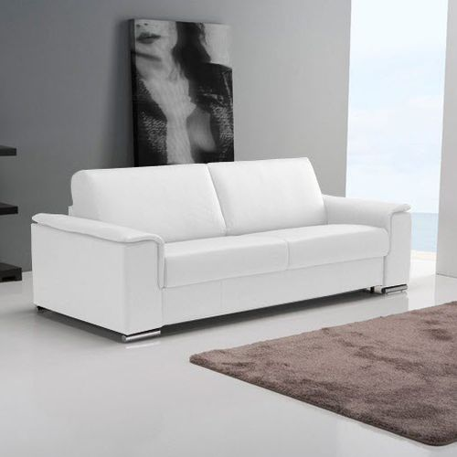 sofa bed / contemporary / leather / 3-seater