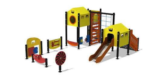 playground play structure / for public buildings / HDPE / metal