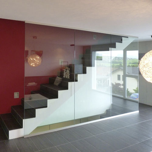 removable partition / glazed / home / frameless