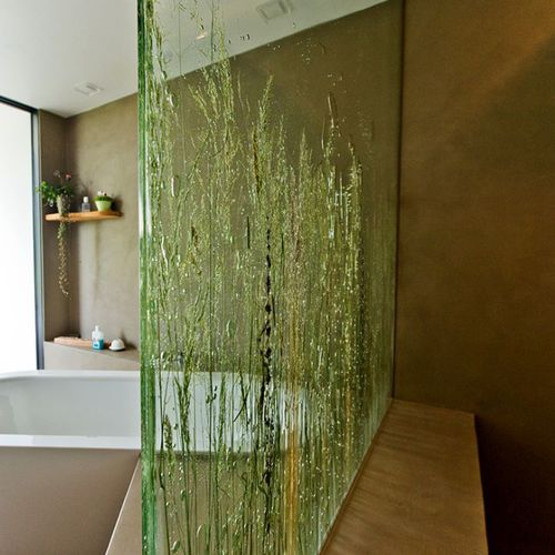 glass decorative panel / for partition walls / sandblasted / lacquered