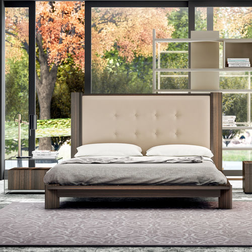double bed / contemporary / with upholstered headboard / lacquered wood