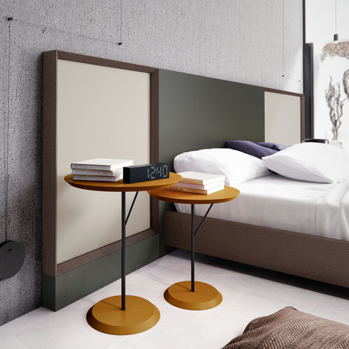 contemporary bedside table / lacquered wood / round
