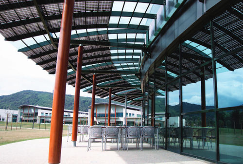 canopy with solar panel / for commercial buildings / glass / commercial