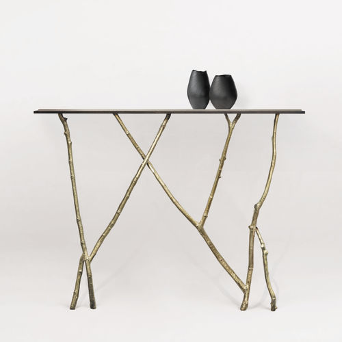 Organic design sideboard table / glass / bronze / leather BRANCHE Mobilier De Style