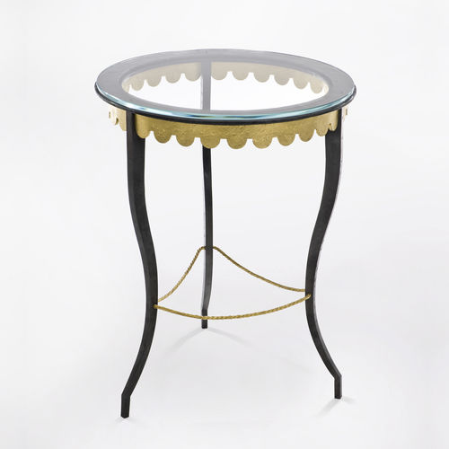 traditional pedestal table / tempered glass / wrought iron / leather