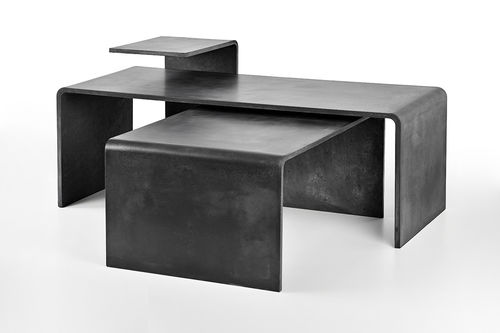 contemporary coffee table / concrete / rectangular / gray
