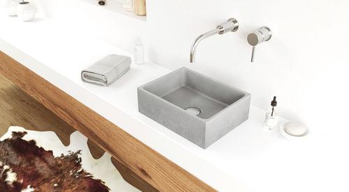 countertop washbasin / rectangular / concrete / contemporary