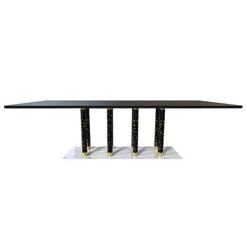 Contemporary dining table / brass / marble / square PANTHEON De Fontes