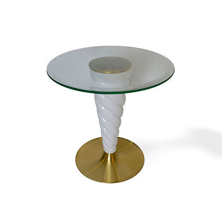 Traditional pedestal table / glass / metal / round UNICORN De Fontes