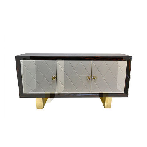 Contemporary sideboard / Macassar ebony / polished brass / leather EXOTIC De Fontes