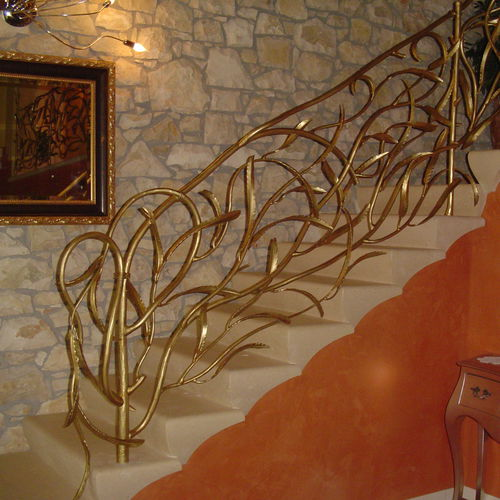 wrought iron railing / with bars / indoor / for stairs