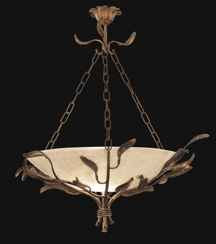pendant lamp / traditional / wrought iron / glass