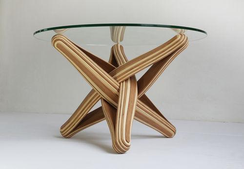 Original design coffee table / bamboo / tempered glass / round LOCK   by J.P.Meulendijks JAN  PAUL
