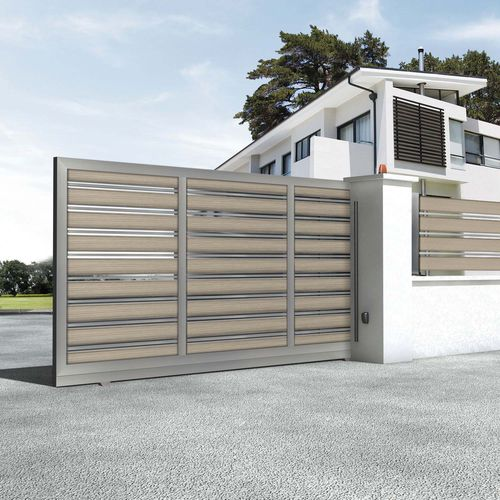 swing gate / sliding / anodized aluminum / louvered