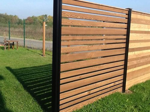 garden fence / louvered / stainless steel / pine