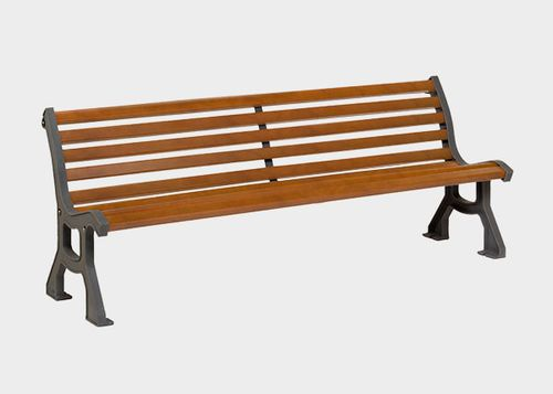public bench / traditional / exotic wood / with backrest