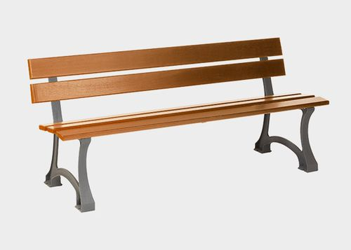 public bench / traditional / exotic wood / cast iron