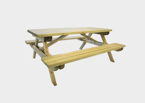traditional picnic table / pine / rectangular / for public spaces