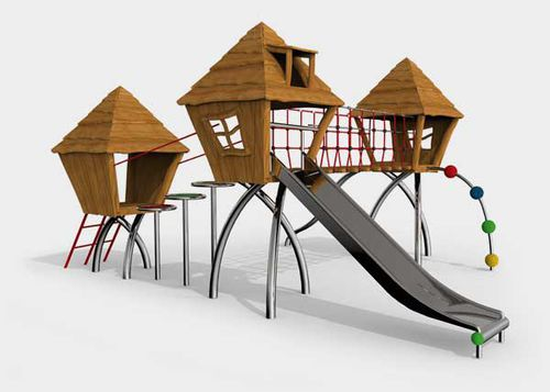 playground play structure / plastic / wooden / metal