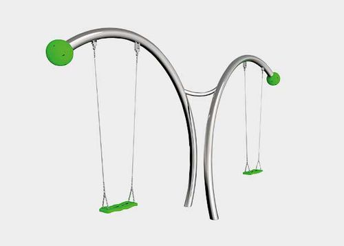 stainless steel swing / plastic / playground / double