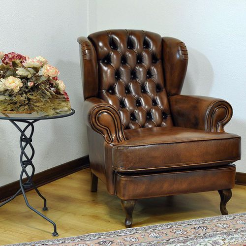 Chesterfield armchair / leather / fabric / high-back