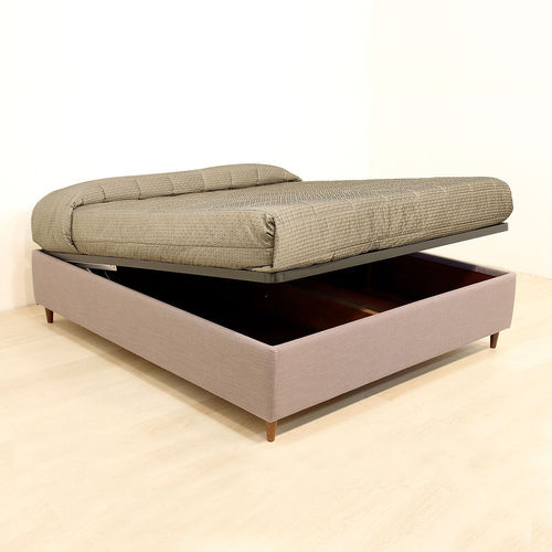 king size bed / contemporary / upholstered / with in-base storage