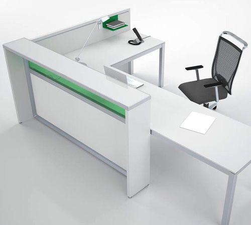 corner reception desk / wooden / glass / melamine