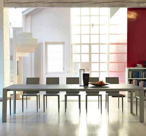 contemporary dining table / frosted glass / steel / painted metal